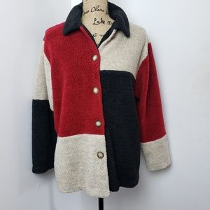 Teddi Fuzzy Button BLock Color Sweater